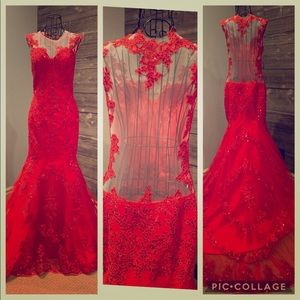 Dresses & Skirts - Red Lace Backless Prom Dress